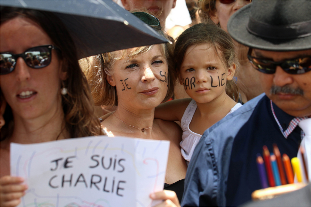 In Paris  A Massive Rally of Defiance and Sorrow